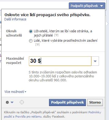 propagace příspeěvku na facebooku