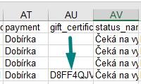 dárkový certifikát - přehled ve vyexportovaných objednávkách