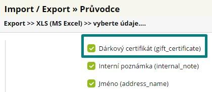 export dárkových certifikátů
