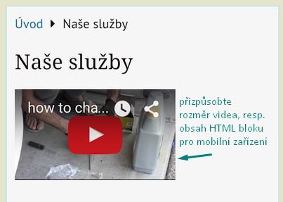html blok - zobrazení v mobilní verzi v neflatové šabloně