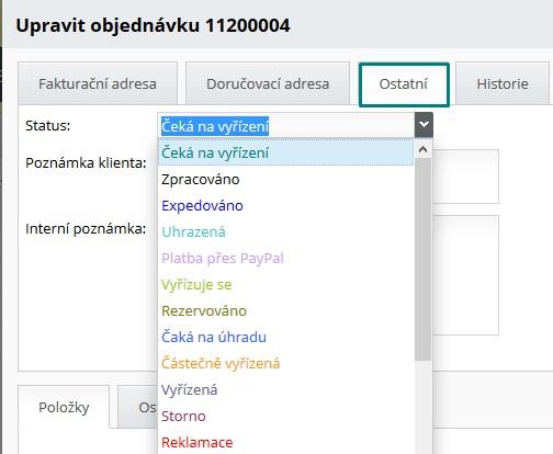 editace statusu objednávky