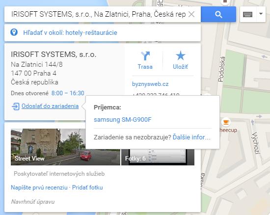 sdílení google maps se smartphonem