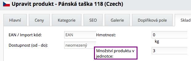 množství produktu v jednotce,e xport dat z e-shopu