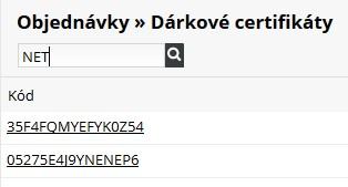 vyhledávání dárkových certifikátů